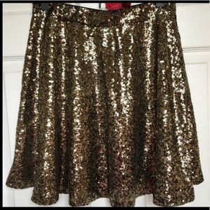 Gold Sequin Xhileration skirt from Target.